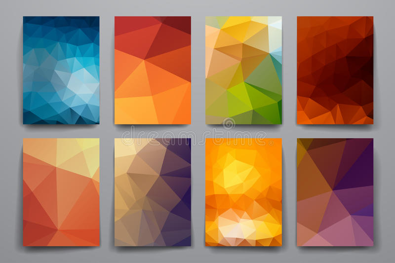 Set of brochure, poster design templates in polygonal style stock illustration