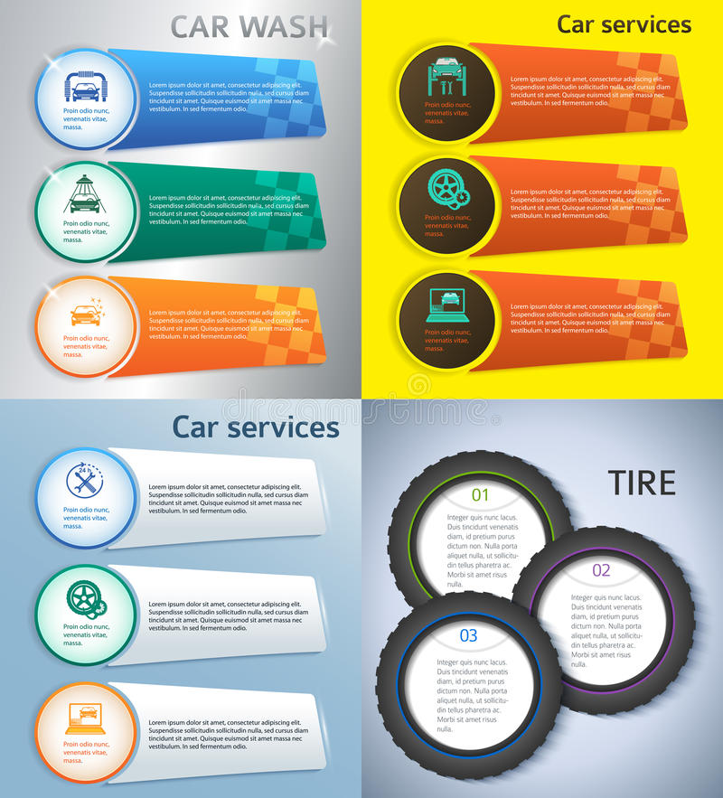 Set brochure template page number of steps presentations09. Set Car service business presentation template on steel background. Vector illustration EPS 10 for royalty free illustration