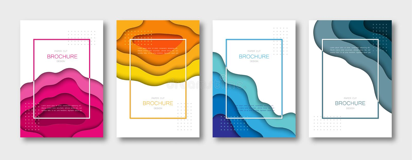Set of brochure templates, covers, abstract 3d backgrounds with paper cut shapes. A4 size. Vector Illustration. vector illustration