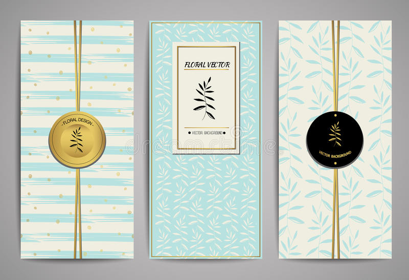 Set of brochures with hand drawn floral design elements. Vector trendy templates. vector illustration