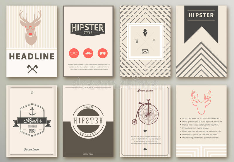 Set of brochures in hipster style. royalty free illustration