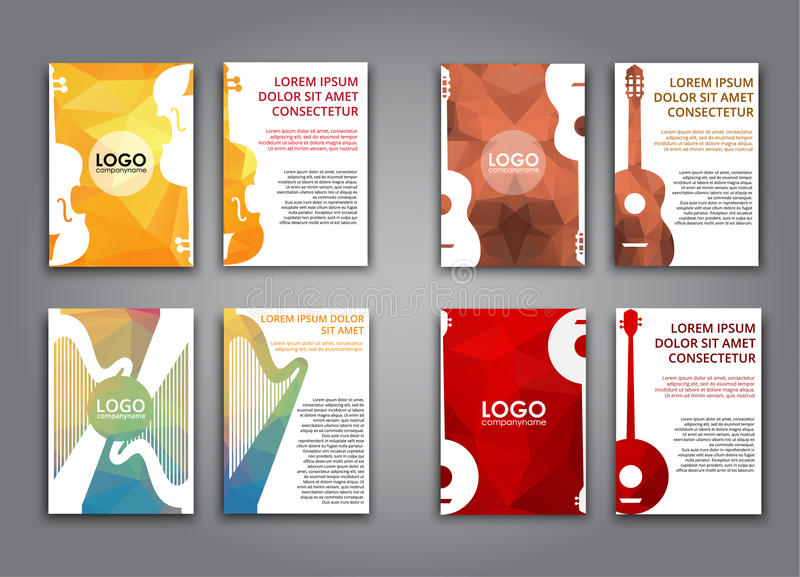A set of brochures with polygonal musical instruments royalty free illustration