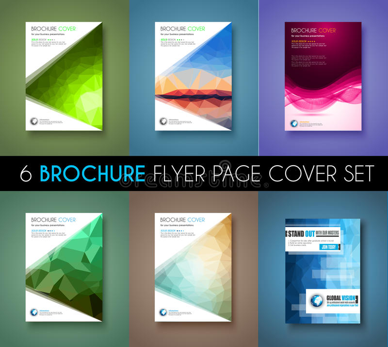 Set of 6 brochures templates flyer designs or depliant covers for brochure template flyer design or depliant cover for business presentation and magazine covers annual reports and marketing generic purposes wajeb Choice Image