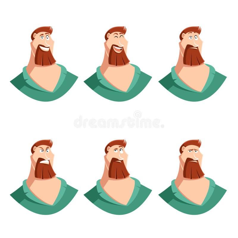 Set broda mężczyzna twarzy ikony royalty ilustracja