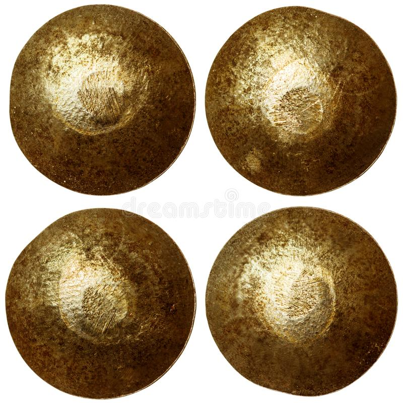 Set of bronze rivet heads stock photos