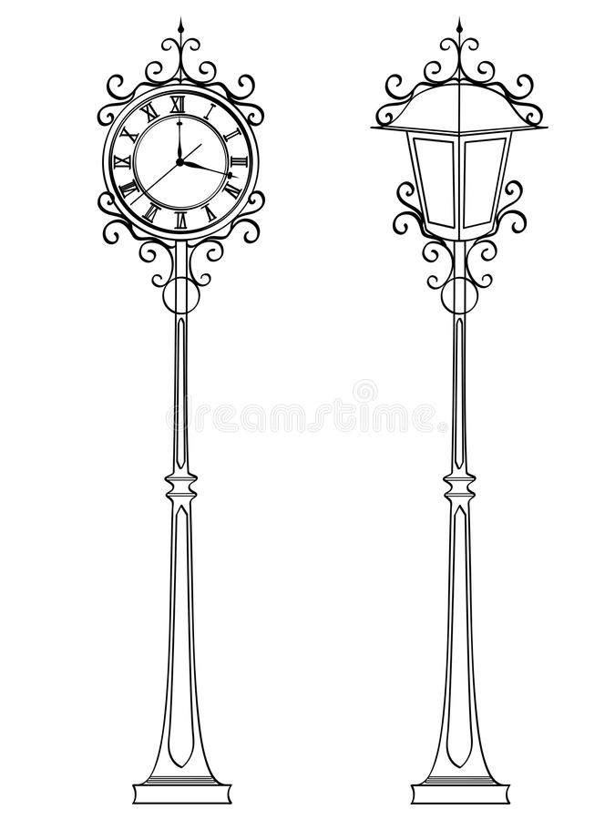 Set bronze vintage street clock with arabic numerals and lamp. Object Coloring book Conceptual stock illustration