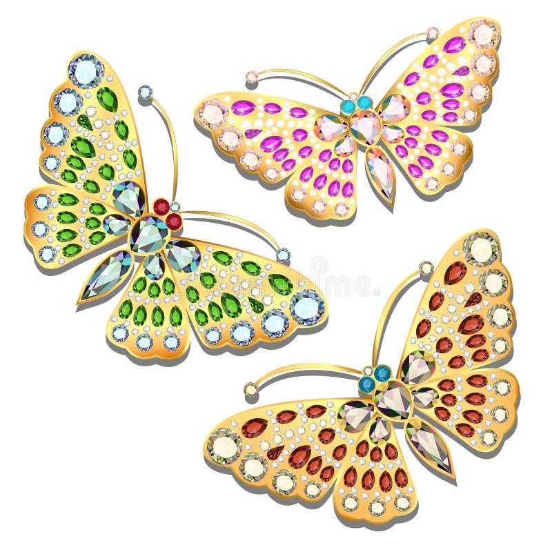 set broszka złoty motyl z cennym ston ilustracja wektor