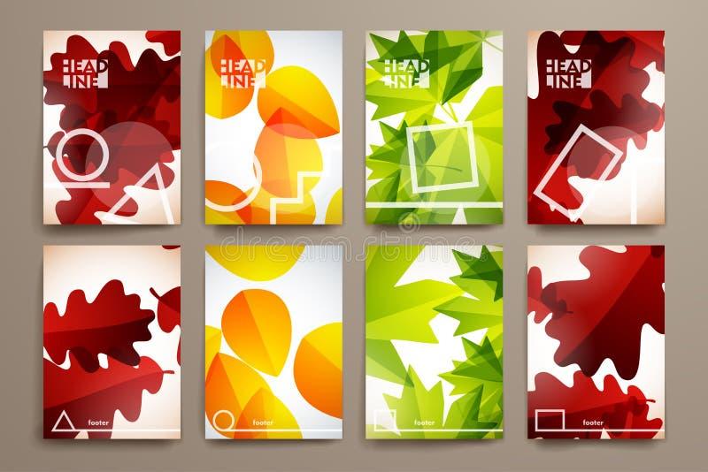 Set broszurka, plakatowi projektów szablony w jesieni ilustracji