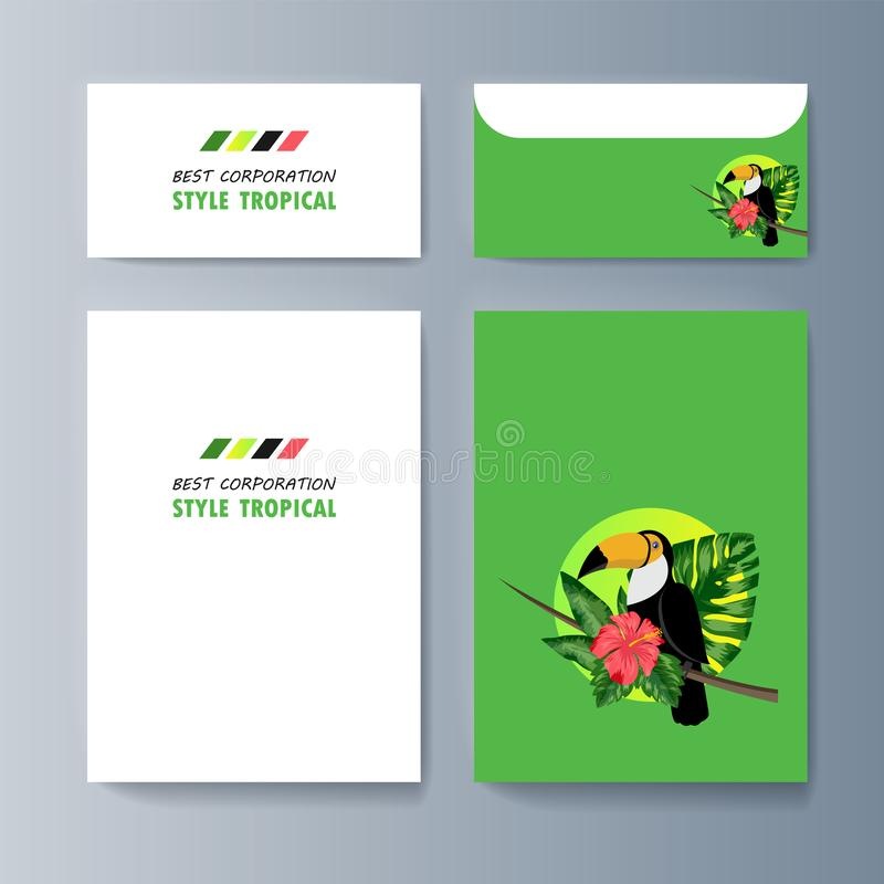 Set broszurki o pieprzojada ptaku i tropikalnej florze ilustracja wektor