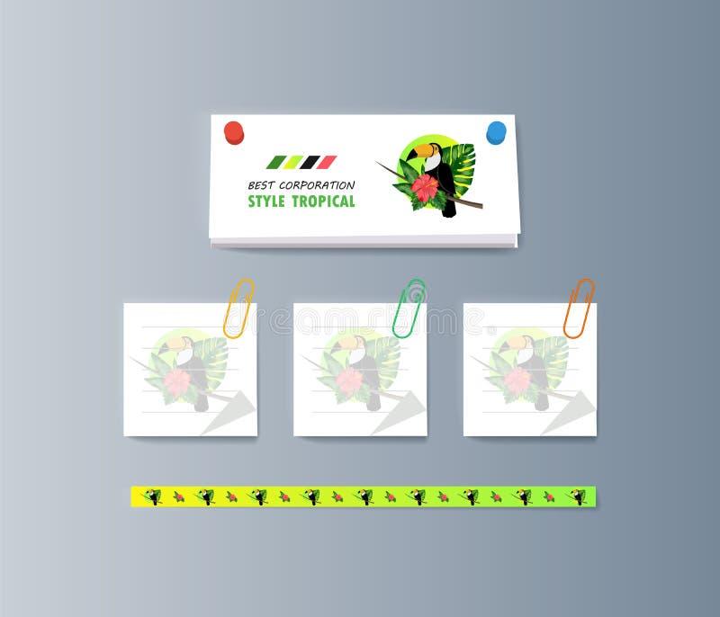 Set broszurki o pieprzojada ptaku i tropikalnej florze royalty ilustracja