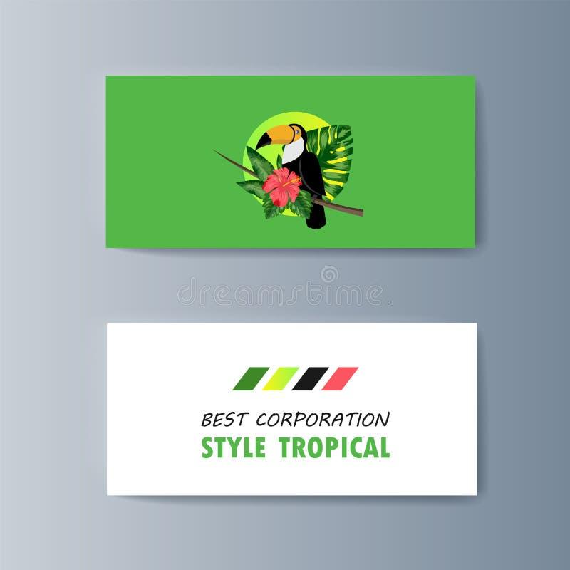 Set broszurki o pieprzojada ptaku i tropikalnej florze ilustracji