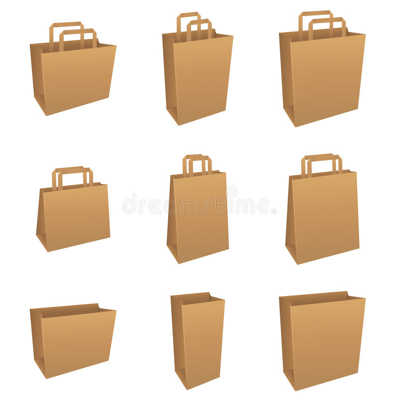 Download Set of brown bags stock vector. Illustration of commerce - 8841395