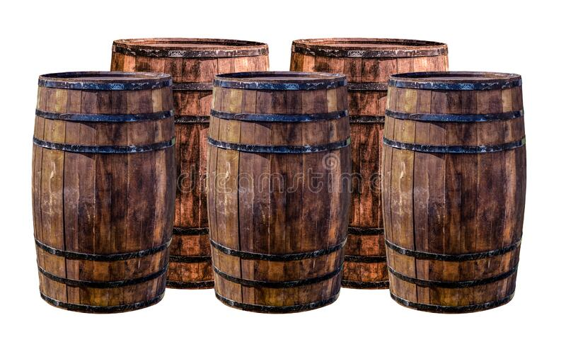 Set of brown barrels for aging whiskey giving flavor to the drink stands on an isolated background royalty free stock photo