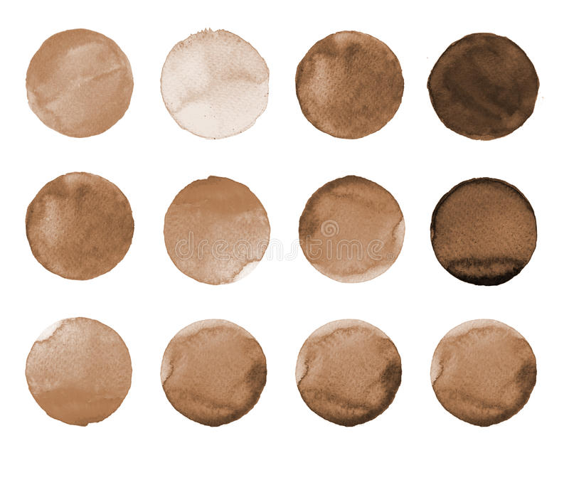 Set of brown, coffee color watercolor hand painted circle on white. Illustration for artistic design. Round stains, blobs. Set of colorful watercolor hand stock illustration