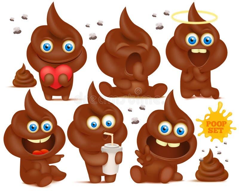 Set of brown emoji poop cartoon characters vector illustration