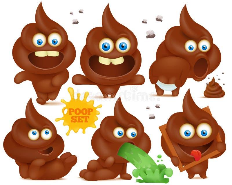 Set of brown emoji poop cartoon characters royalty free illustration