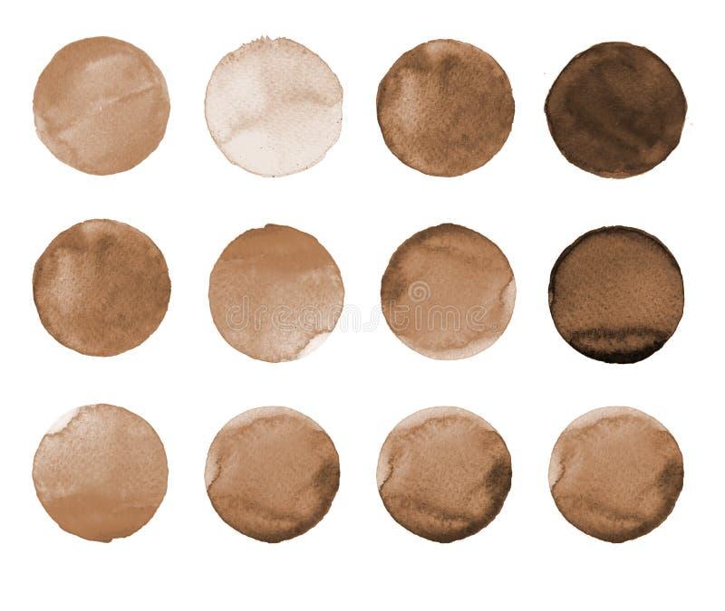 Set brown, kawowa kolor akwareli ręka, malował okrąg na bielu Ilustracja dla artystycznego projekta Round plamy, krople ilustracji