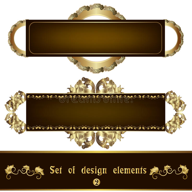 Set brown label with gold filigree ornament stock illustration