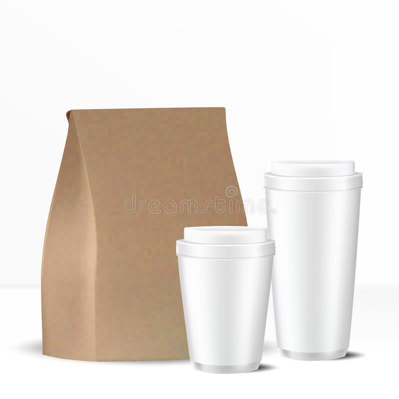 Set of brown paper bag and two disposable white gray caps with lid. VECTOR MOCKUP TEMPLATE: Set of brown paper bag and two disposable white gray caps with lid on vector illustration