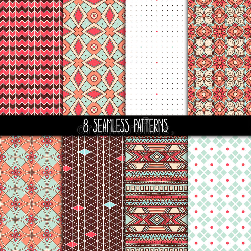 Set of brown and pink patterns royalty free illustration