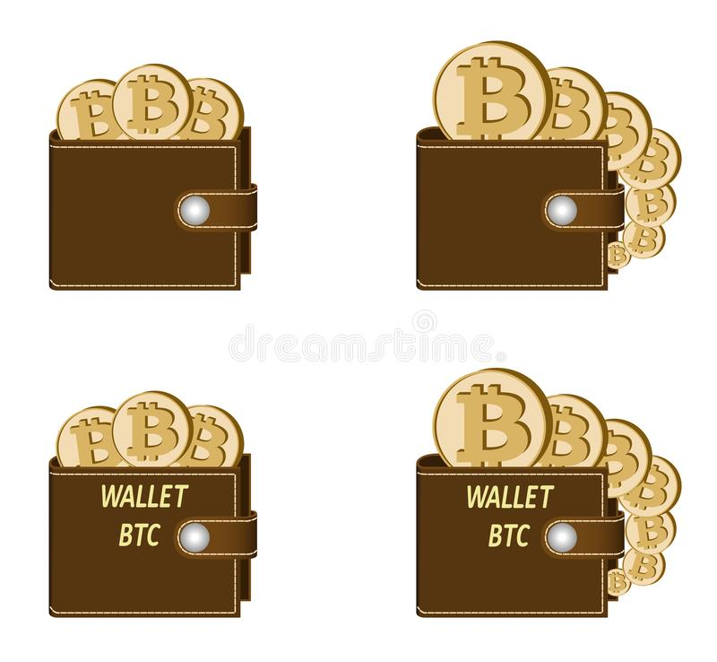 Set of brown wallets with bitcoin coins royalty free illustration