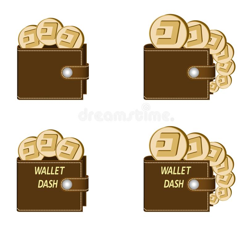 Set of brown wallets with dash coins. On a white background , crypto currency in the wallet,sign crypto currency concept in the form of coins, words wallet dash vector illustration
