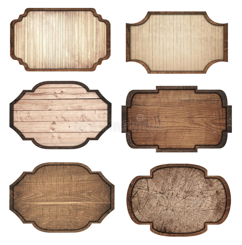 Set of brown wooden signboard, planks and dark frames are isolated on white background.  stock photo
