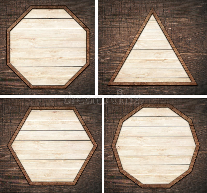 Set of brown wooden signboard, plate, planks and. Dark frames on board stock photos