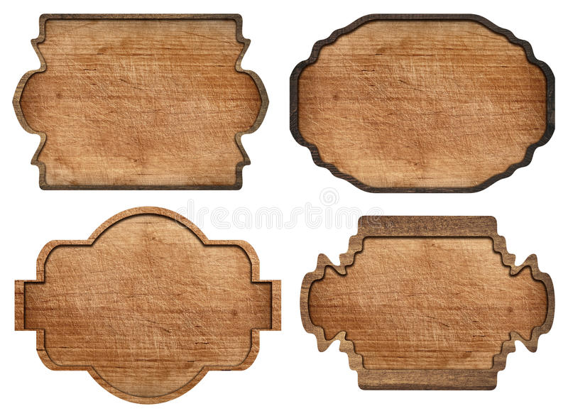 Set of brown wooden signboard, plates, planks and. Dark frames are isolated on white background stock photos