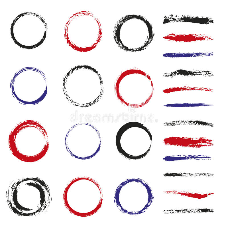 Set of brush strokes and circles vector illustration