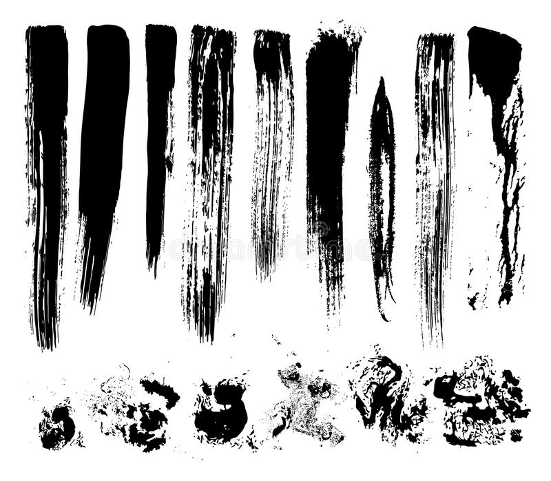 Set of brush strokes, stains, vector. Artistic effect dry brush, vector without gradient royalty free illustration