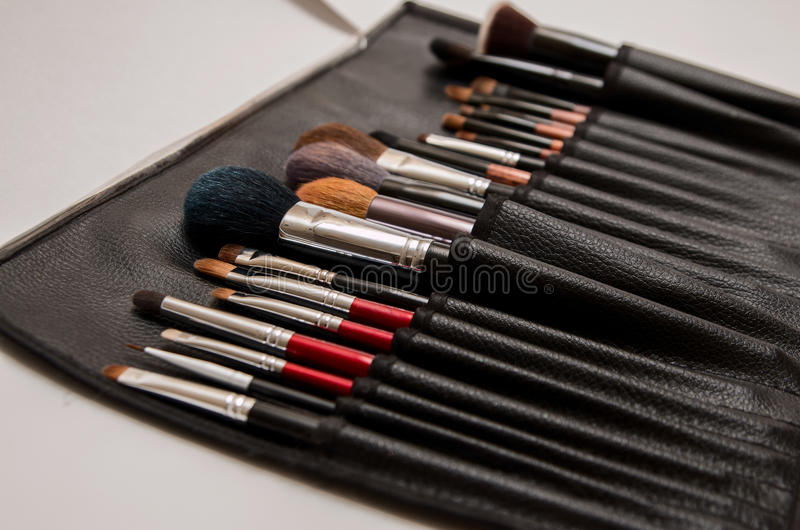 Set of brushes in case royalty free stock images