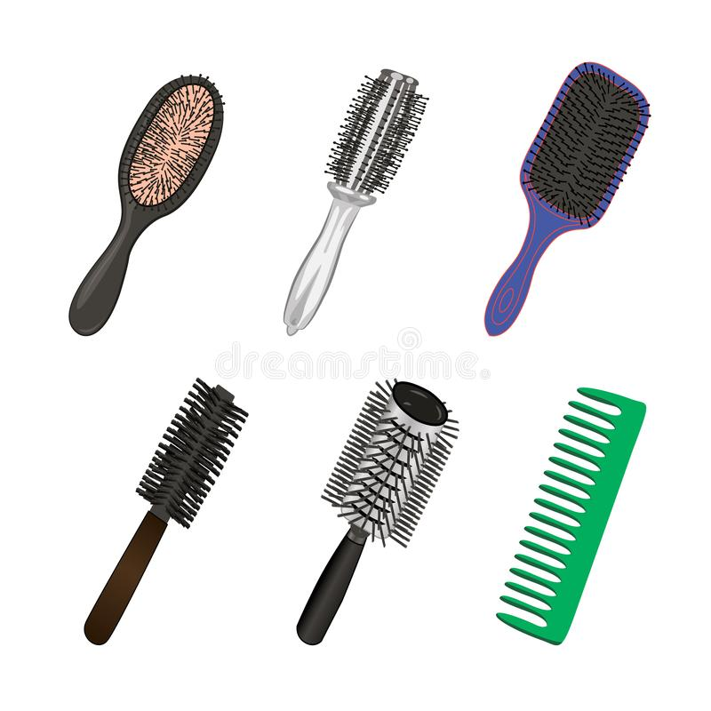 Set of brushes for hairstylist stock illustration
