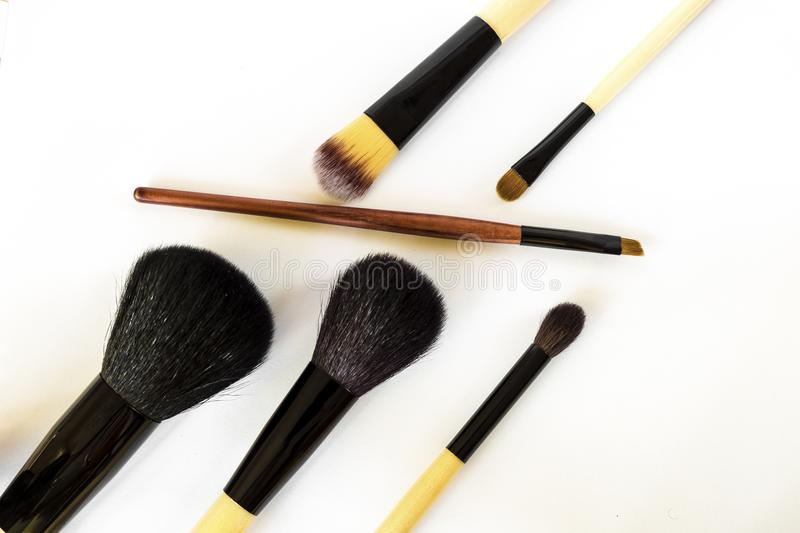 A set of brushes for make-up stock photo