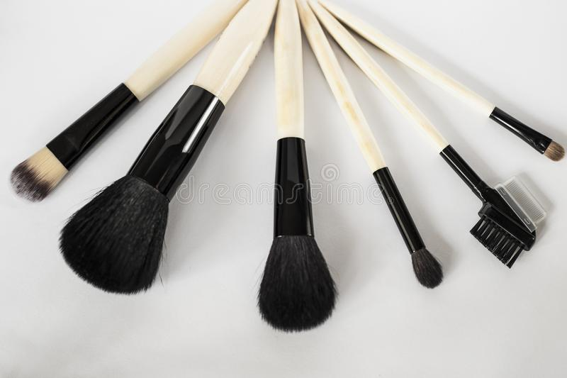 A set of brushes for make-up stock images