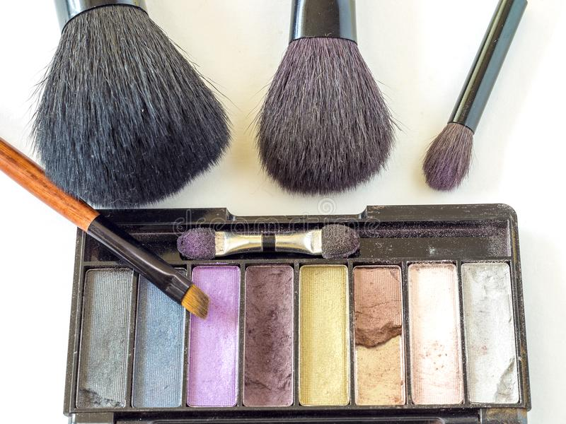 A set of brushes for make-up stock photography