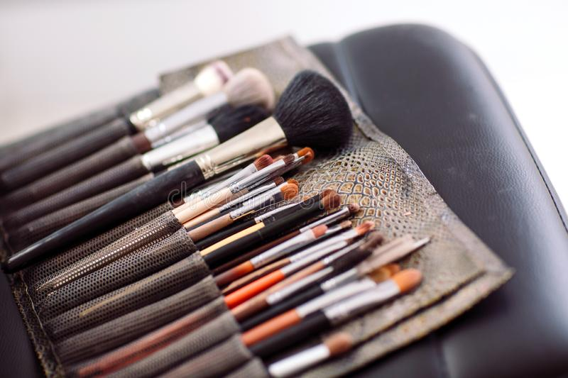 Set of brushes of make up artist royalty free stock photography