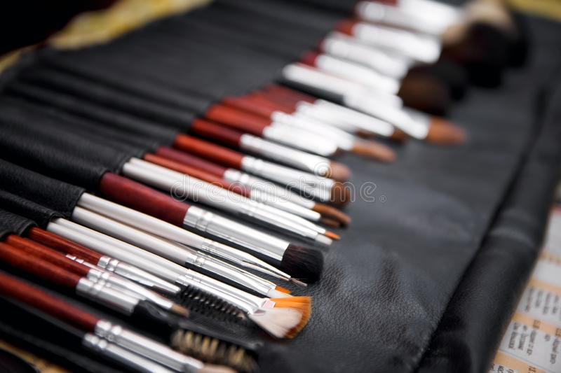 A set of brushes for makeup. workplace make-up artist. Brushes painter stock images