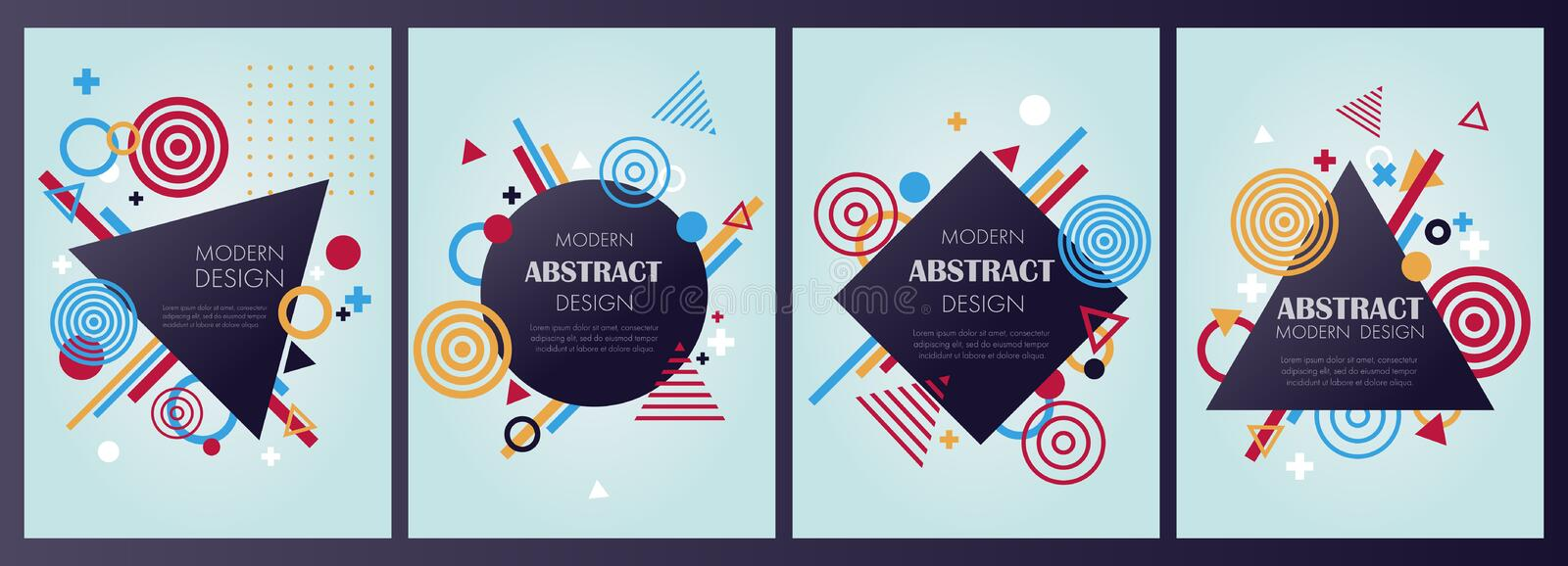 Set of bstract modern banner and background in vector. Demonstrates geometric elements, shapes and signs can be used as a banner, brochure or part of the modern stock illustration
