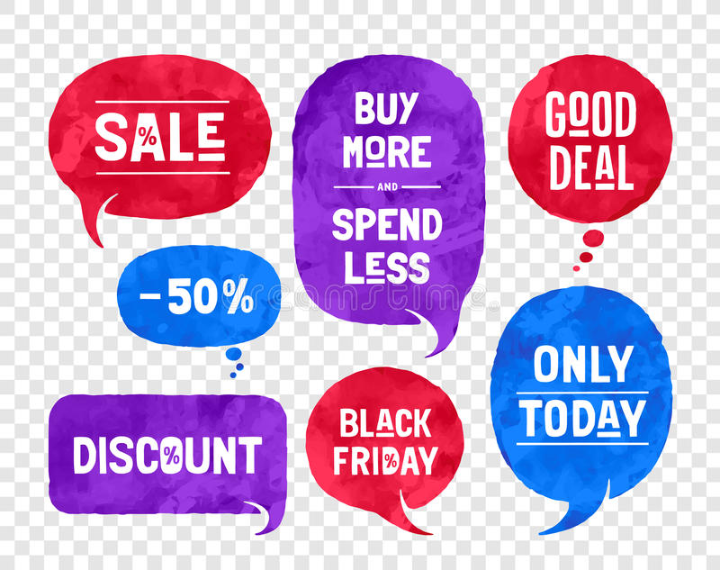 Set of bubbles, cloud talk, different shapes for Sale and Discount themes royalty free illustration