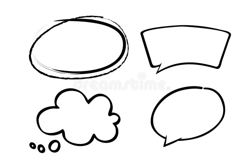 Set bubbles speech. Hand drawn coloured makers on white background vector illustration