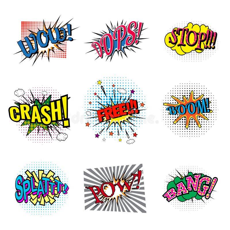 Set Of Bubbles Speech Oops Expression And Speak Onomatopoeia Crash
