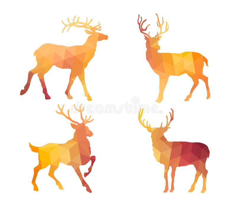 Triangle Polygonal Silhouettes of Bucks royalty free illustration