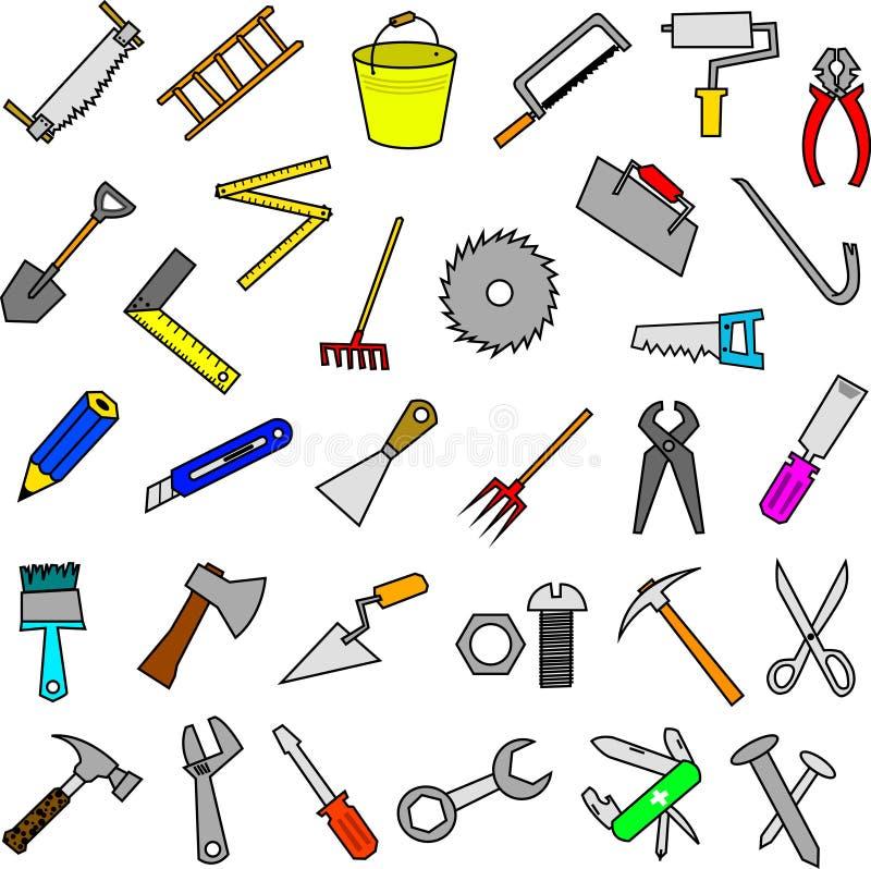 Set budów narzędzi projekta elementy ilustracja wektor