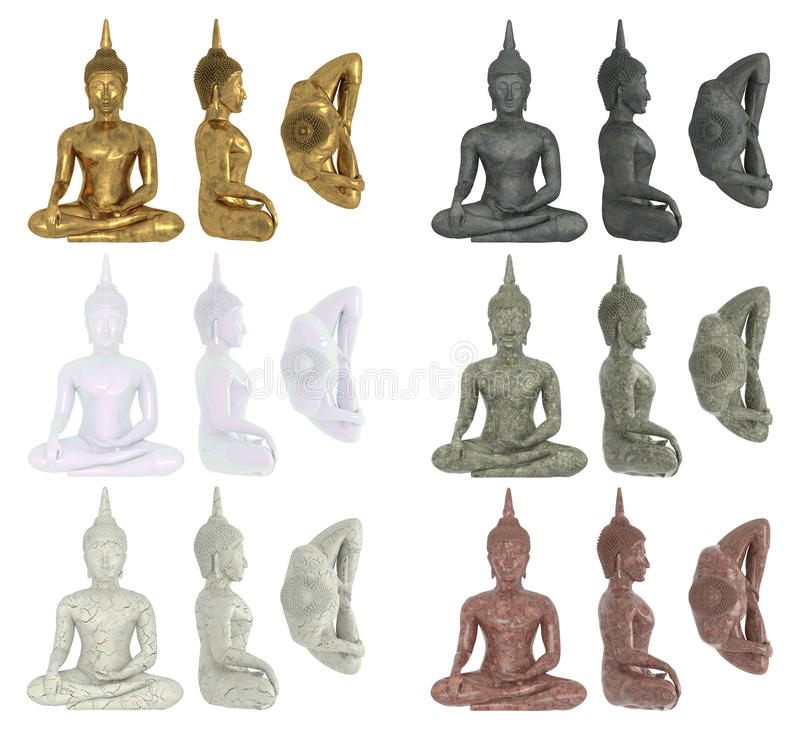 Set of Buddha figurines isolated on white background in materials of gold, marble, stone, granite, ceramics. Buddha in lotus posit vector illustration