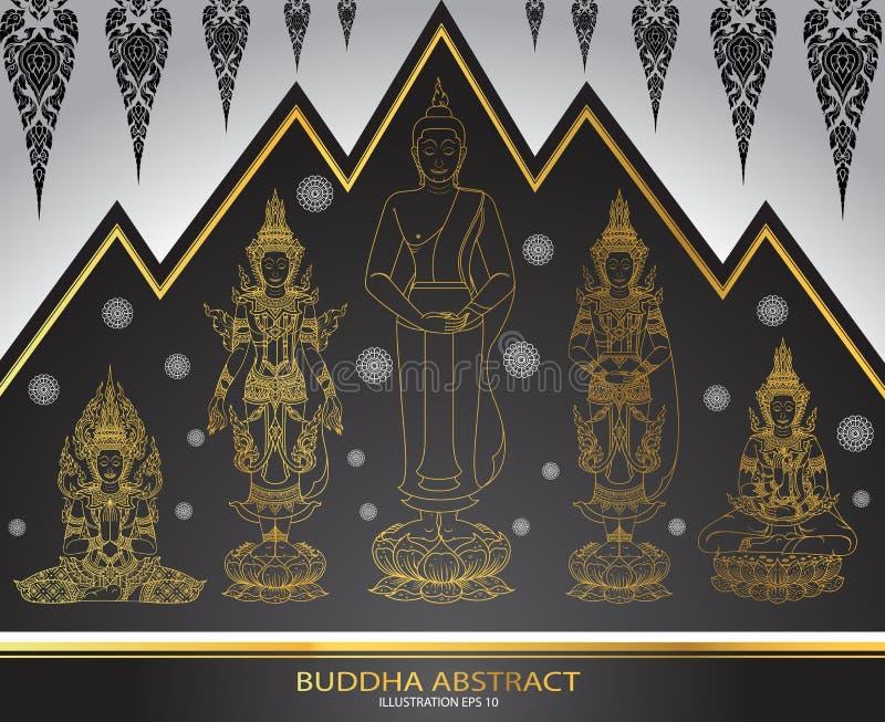 Set Buddha tradyci tajlandzki abstrakt ilustracja wektor