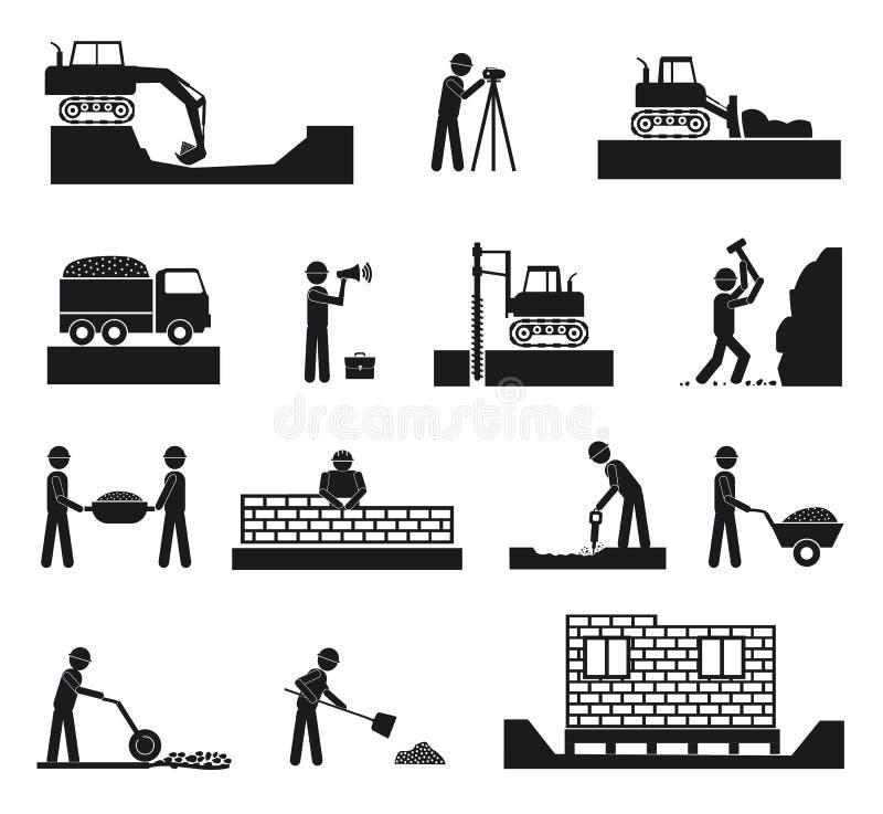 Set budowniczego przemysłu budowlanego ikony ilustracji