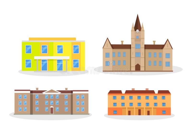 Set budynku dziecina szkoły szkoły wyższa uniwersytet ilustracji