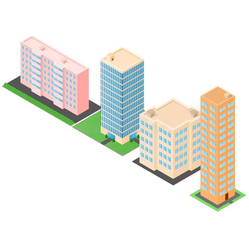 set budynku set Domy i wysocy biura royalty ilustracja