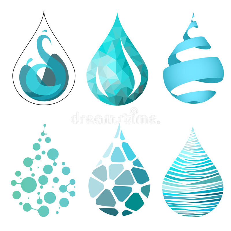 Set bue wody kropli jaskrawe różne ikony ilustracji